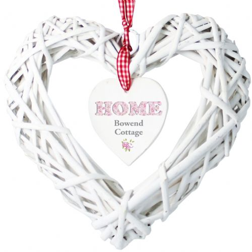 Personalised Floral Design Home Wicker Heart Decoration